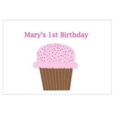 Mary's First Birthday Cupcake Poster