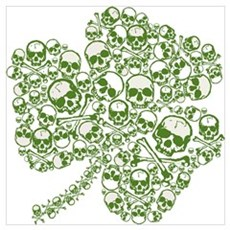 Shamrock Skull St Patricks Day Canvas Art