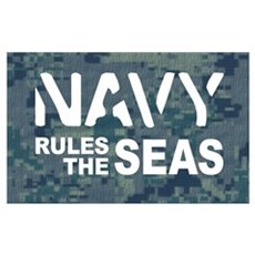 Navy Rules Blue Camo Poster
