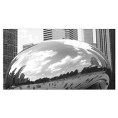 THE BEAN STATUE -CHICAGO BW Canvas Art
