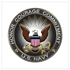 USN Eagle Honor Courage Commi Framed Print