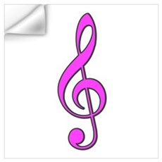 Retro Hot Pink Treble Clef Wall Decal