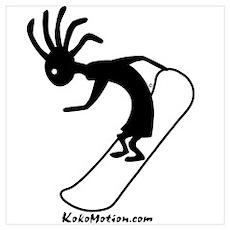 Kokopelli Snowboarder Poster