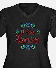 I Love Roosters Women's Plus Size V-Neck Dark T-Sh