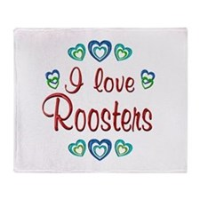 I Love Roosters Throw Blanket