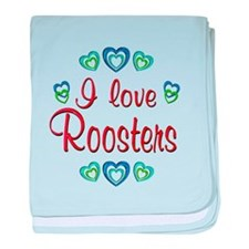 I Love Roosters baby blanket