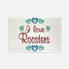 I Love Roosters Rectangle Magnet