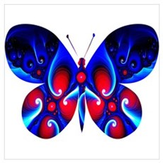 Butterfly, Chambered, Blue and Red Framed Print