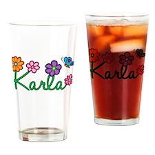 Karla Flowers Drinking Glass