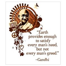 Funky Gandhi -Earth provides enough... Canvas Art