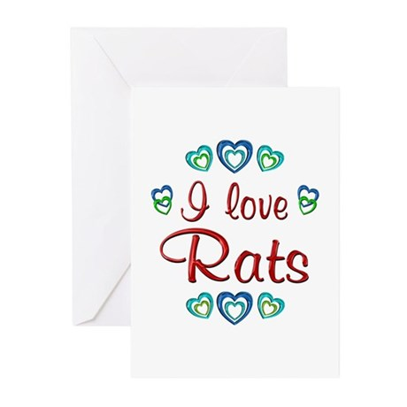 I Love Rats Greeting Cards (Pk of 20)