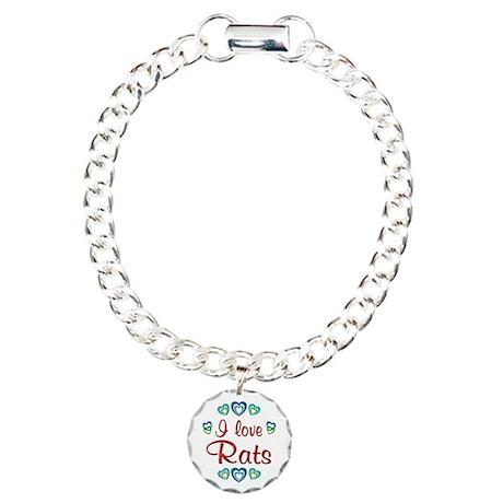 I Love Rats Charm Bracelet, One Charm