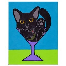 Black Cat Martini Poster