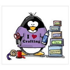 I love crafting penguin Framed Print
