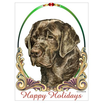 Chocolate Lab Holiday Canvas Art