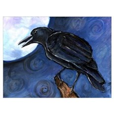 Small Full Moon Crow Raven Canvas Art
