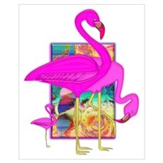 Family of Pink Flamingos Poster