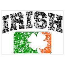 Distressed Irish Flag Logo Poster