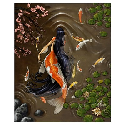 Koi Mermaid Framed Print