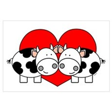 Love Cows (red) Framed Print