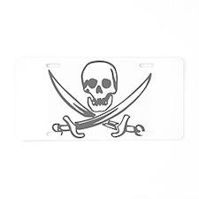 Pirate Skull Aluminum License Plate