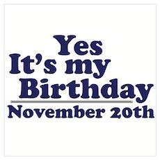 November 20th Birthday Poster