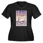 Batik Sunset Marsh Women's Plus Size V-Neck Dark T