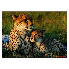 Cheetah and Cub Color Drawing Poster