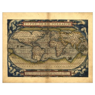 1570 World Map Poster