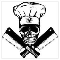 Chef Skull--B&W- Poster