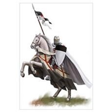 Templar on rearing horse Canvas Art