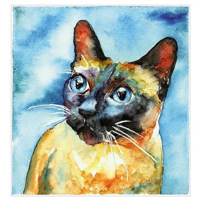 Blue Siamese Cat Poster