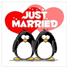 Just Married Penguins Poster