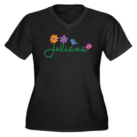 Juliana Flowers Women's Plus Size V-Neck Dark T-Sh