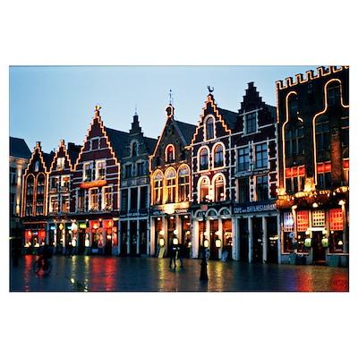 Brugge at Night 14 x 20 Print Poster