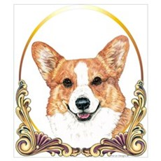 Welsh Corgi Christmas Gold Ring Framed Print