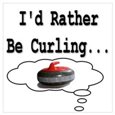 I'd Rather Be Curling.. Framed Print