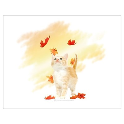 Autumn Kitten and Maple Leaves Poster