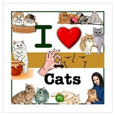 I Love Cats in ASL Poster