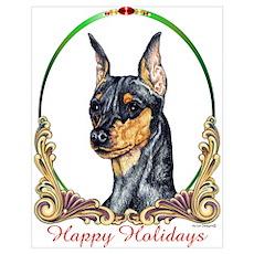 Min Pin Happy Holiday Poster