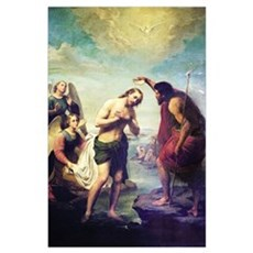 John The Baptist and Christ Poster