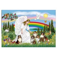 Angel & Five Shelties Canvas Art