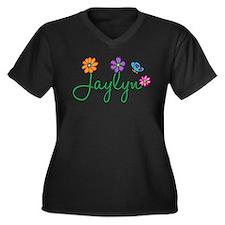 Jaylyn Flowers Women's Plus Size V-Neck Dark T-Shi