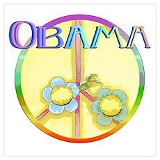 Retro Obama Peace Sign: Poster