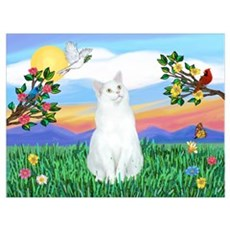 Bright Life / (White) Cat Poster