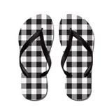 Black and white plaid Flip Flops