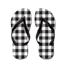 Plaid Black White Flip Flops