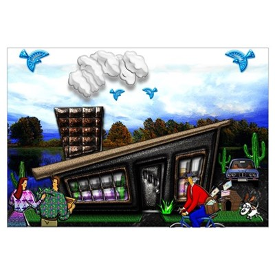 Couple at home Rover jumping Canvas Art