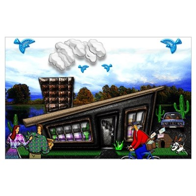 Couple at home Rover jumping Poster