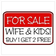 FOR SALE:WIFE/KIDS! (red) Canvas Art